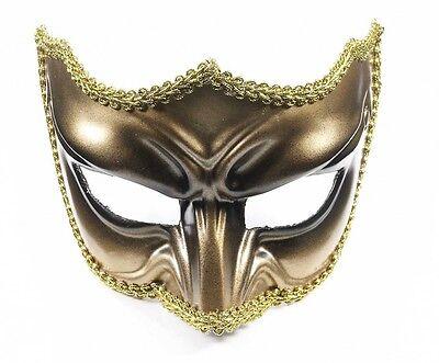 Men's Gold and Black Masquerade Half Mask Mardi Gras Venetian Formal Dance
