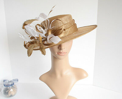 Medium NEW Church Derby Wedding Easter Sinamay Champagne Dress hat CM65