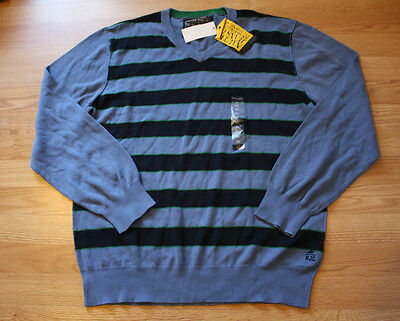 NWT Mens NAUTICA Blue Navy Blue Green Stripe V-Neck Sweater Size L Large $49