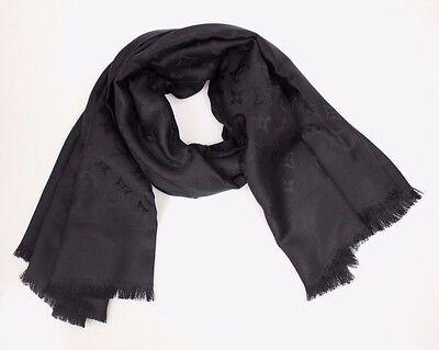 LOUIS VUITTON Black LV logo Monogram Wool Silk Shawl Scarf 100% authentic NEW