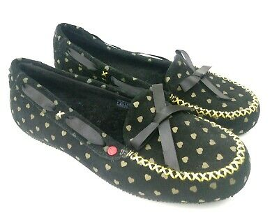 UGG I Heart UGG Belle Slippers / Flats Black/Gold Shoes Sz 6 US Suede 1007114