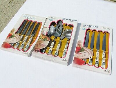New Vintage Heartland Flatware 4 Piece Serving Set + 8 Steak Knives