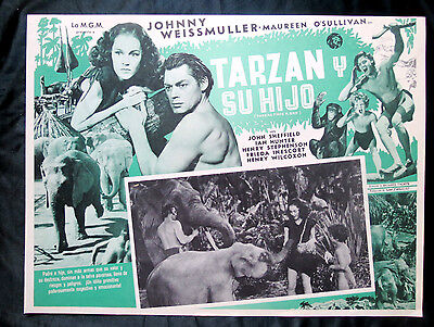 "JOHNNY WEISSMULLER ""TARZAN FINDS A SON"" J SHEFFIELD ELEPHANTS MINT LOBBY CARD 39"