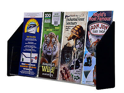Clear Black Acrylic 4 Pocket Brochure Holder For 4w Literature Lot Of 6
