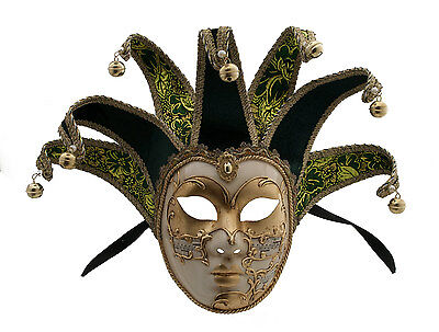 Mask from Venice Volto Jolly Green and Golden 7 Spikes Symphony 128 VG4