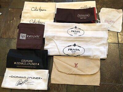 Lot of 11 Designer Dust Bags For Purse Shoes Prada LV Coach Cole Haan  Pliner