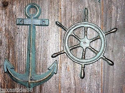 (2) Vintage Look Anchor Home Decor Christmas Gift, Solid Cast Iron, N-42,27 - Nautical Decorations