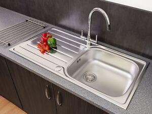 Reginox Daytona Inset Kitchen Sink Stainless Steel 1 Bowl Reversible Drainer