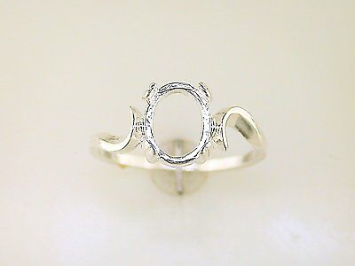 Oval Cabochon Swirl Ring Setting Sterling Silver