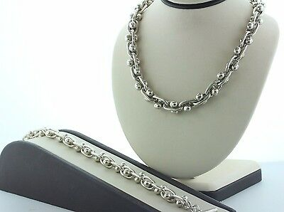 Taxco Mexico Sterling Silver 925 DNA Design Beaded Chain Necklace & Bracelet Set