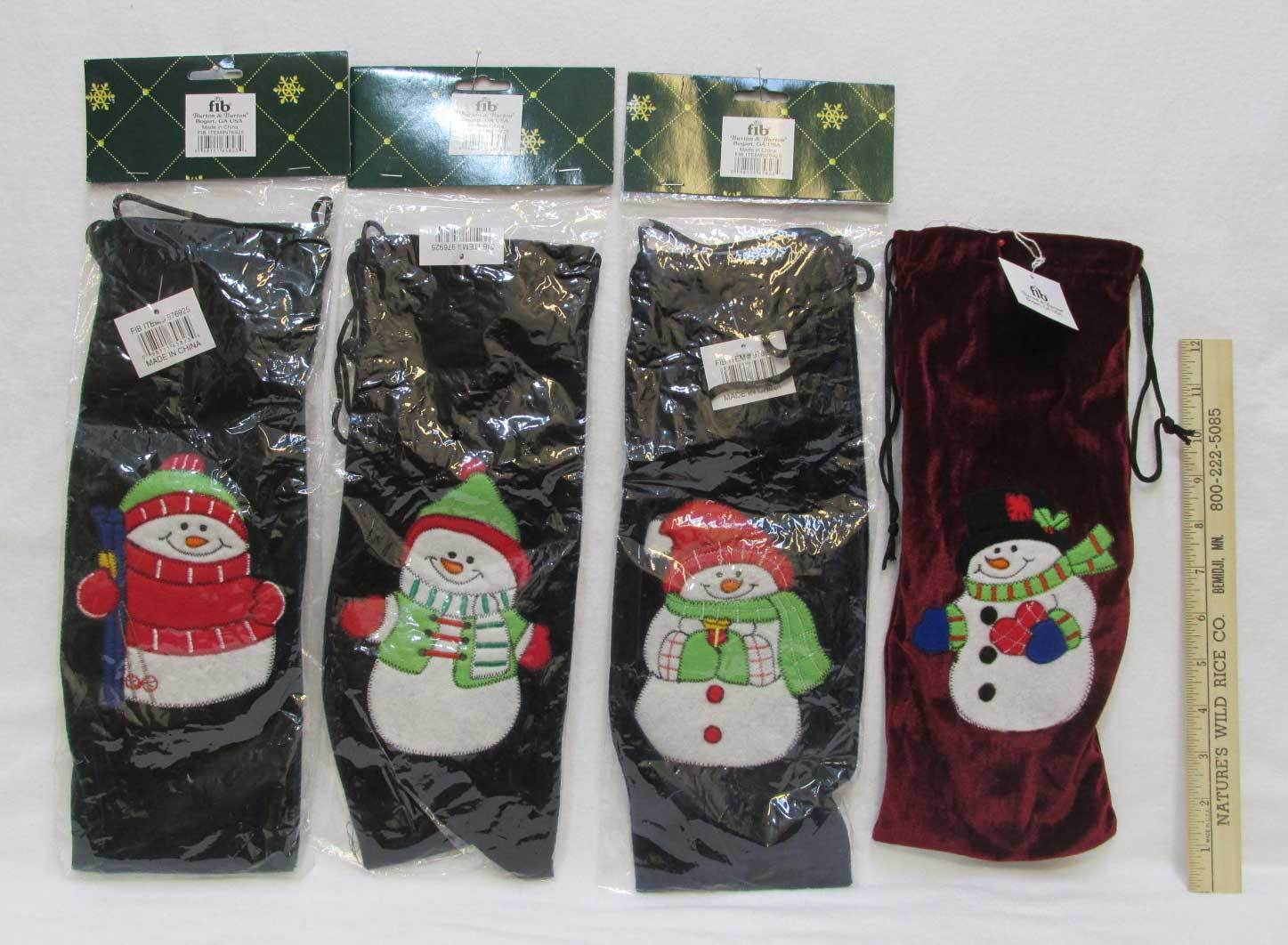 Velvet Gift Bag Christmas Snowman Wine Wrapping Green Blue R