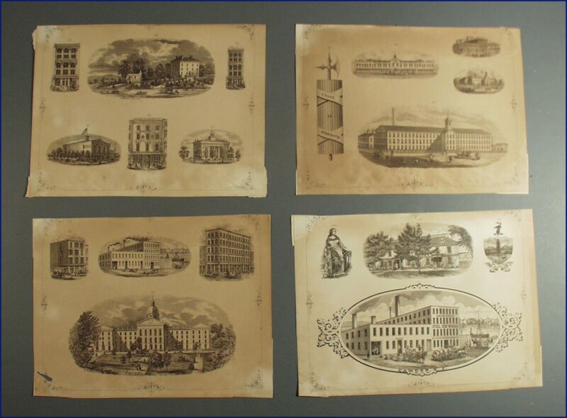 4 VINTAGE BANK NOTE SCRIPOPHILY ENGRAVING SHEETS, BUILDINGS, ETC.