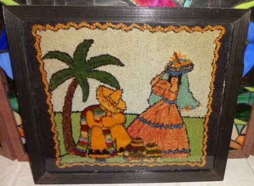 Vintage Fiesta Go-Along Punch Needle Hooked Rug Sleeping Mexican Siesta Man Frmd