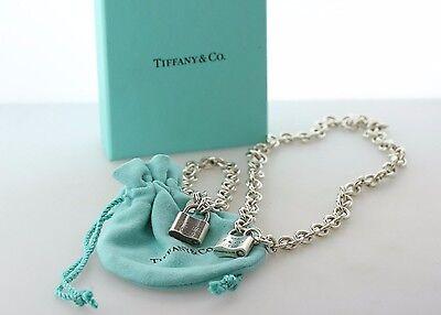 Tiffany & Co. 1837 Sterling Silver Padlock Lock Charm Bracelet and Necklace Set