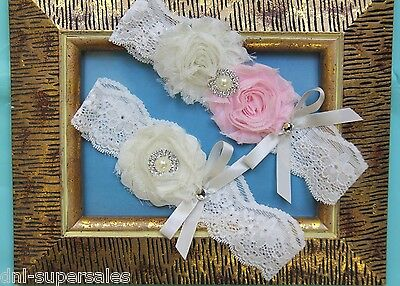 Pink Ivory Wedding Garter Set 2 Garters Pearl Rhinestone Bow Chiffon Lace S4P