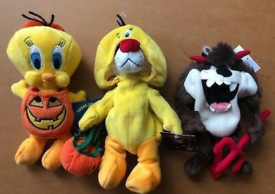 Halloween Looney Toons Lot Of 3 Tweety, Sylvester, Taz Bean Bag Plushes W/Tags