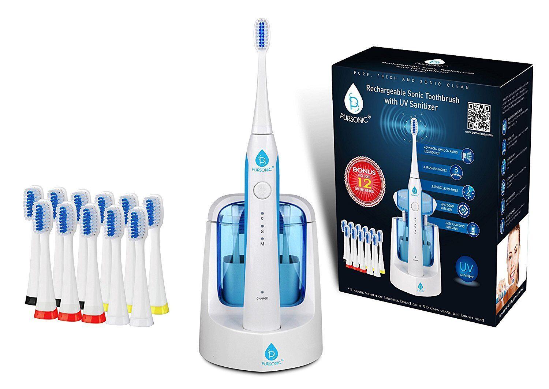 Pursonic S750 Sonic Toothbrush W UV Sanitizing Function 12 Brush Heads White