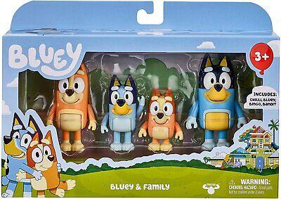 BLUEY - FAMILY 4-PACK FIGURE SET - BLUEY BINGO CHILLI BANDIT In USA 100% REAL