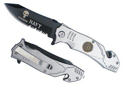 US NAVY SEAL TEAM PUNISHER Spring ASSISTED Opening POCKET KNIFE Belt Cutter