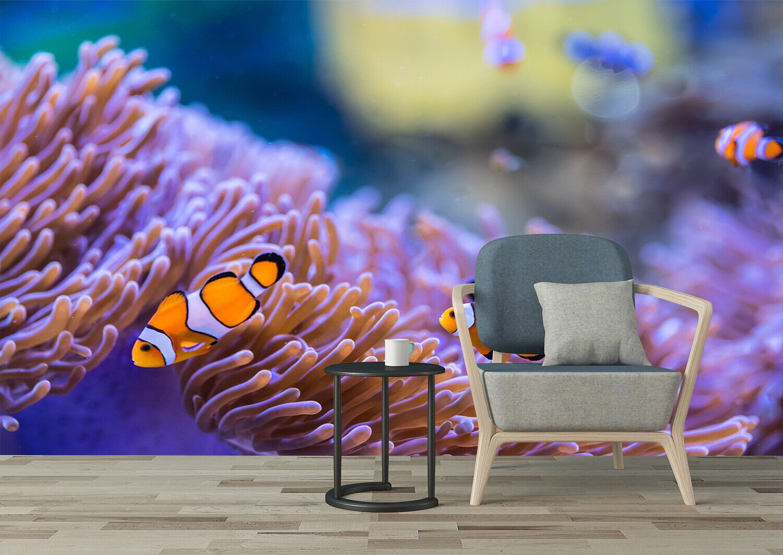 3D Anemone Fish in Marine Aquarium Kitchen Floor Sticker Bathroom Wall Murals