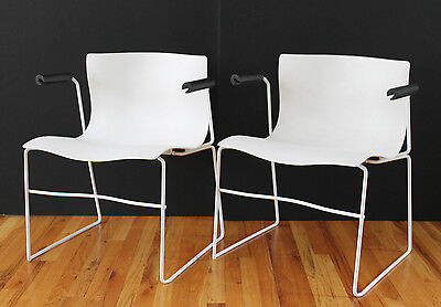 "Mid Century Pair Massimo&Lella Vignelli ""Handkerchief"" Arm Chairs Black&White"