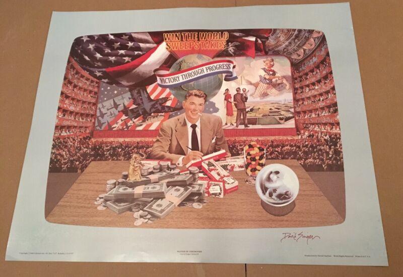 Poster Ronald Reagan David Singer SIGNED 1984 collage GOP Not Grateful Dead