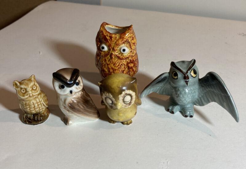 Vintage Porcelain Miniature Collectible  Figurine  Ceramic Owl