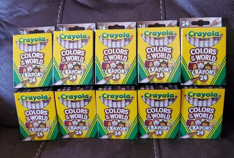 Crayola Crayons 24 Pack lot of 10 Colors of The World Multicultural Crayons