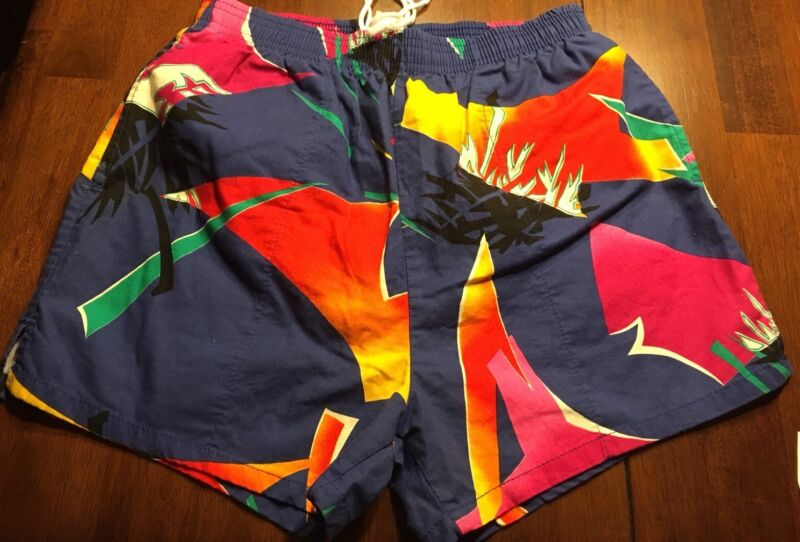 Rare Vtg 1980s Shorts Swim Trunks Big Surf Youth Medium Geometric Retro Boys