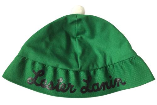 Vtg LESTER LANIN ORCHESTRA SOUVENIR HAT / BEANIE Green, Black Type, White Pompom