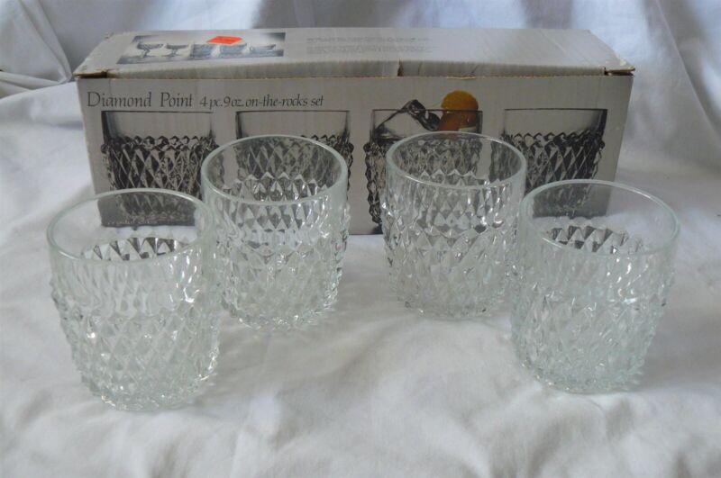 Set of 4 Indiana Glass Diamond Point On the Rocks Old Fashioned Glasses 9 oz MIB