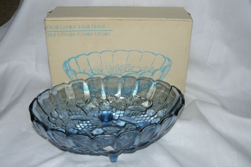 Vintage Indiana Glass Pastel Blue Oval Center Fruit Bowl Footed MIB
