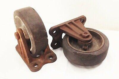 Vtg Antique Cast Iron 6 Caster Wheels Industrial Factory Farm Cart Dolly