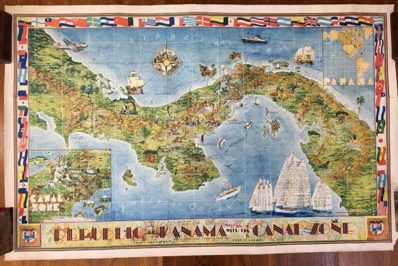 Original 1941 Teegarden/ Herman Panama Canal Zone Map Ridgway Litho Seattle