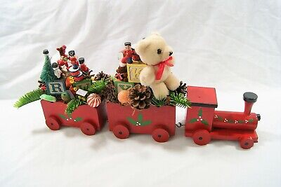 """Christmas Holiday Wooden Train Set w/ Decorations Ornaments Collectible 15"""" L"""