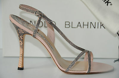 Manolo Blahnik Tunica Strappy Pink Lizard Leather Sandal Shoes 40.5 10.5 10