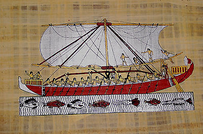 Ägypten Papyrus-Bild 30 x 40 cm - Die Galeere