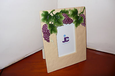 Jcf Ivory Ceramic Embossed Grape 4 X 6 Picture Frame