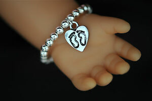 Baby-Born-Reborn-Doll-Silver-Beaded-Bracelet-with-Baby-Footprint-Heart-Charm