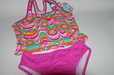 Girl's Speedo 2pc Pink Floral Retro Geometric Print Swimsuit Bathing Suit 14