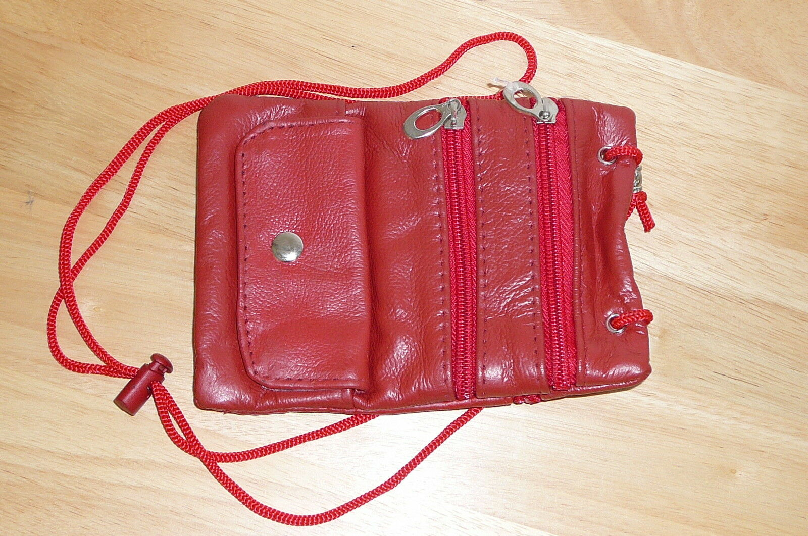 Leather Neck Pouch Passport Id Card Holder Adjustable. New/red Free Shipping