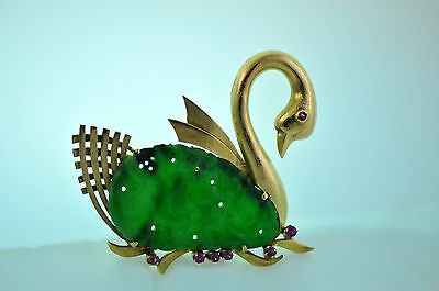 14k Yellow Gold Swan w/ Green Jadeite Jade & Rubies Pin or Brooch, 15g Excellent