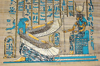 Ägypten  Papyrus-Bild 30 x 40 ISIS und MAAT