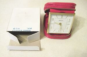 VINTAGE EQUITY WIND-UP TRAVEL ALARM CLOCK LUMINOUS DIAL NOS w original box