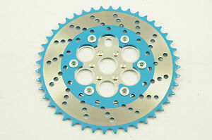 44 TEETH CHAINWHEEL OPC CHAIN RING OLD SCHOOL BMX 80's 2  BLUE & CHROME NOS