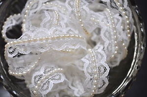 1M-White-Vintage-Style-Lace-Ivory-Pearls-Ribbon-Trim-Wedding-Sewing-Craft