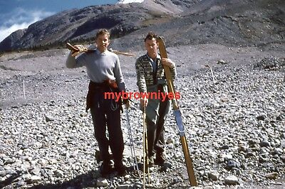 Red Kodachrome 35mm Slide - 1950s Young Boys Getting Ready to Ski