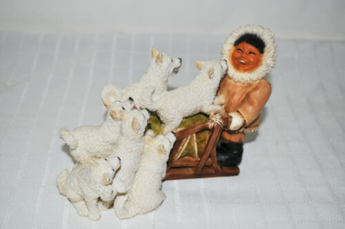 RARE 1995 CASTAGNA Eskimo Child with Sled and Sled Dogs