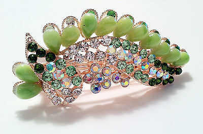 Butterfly inspired design hair accesory Barrette style in Fake Jade & (Butterfly Inspired Fashion)