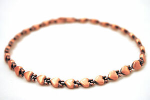LADIES 10.5 IN COPPER HEARTS HEALING MAGNETIC THERAPY LINK ANKLET: For Pain!